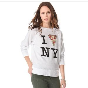 Wildfox I Pizza NY Destroyed Sweatshirt XS